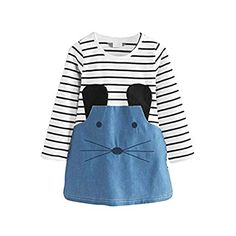 Stripe Pants Set Long Sleeve Bowknot Dress T-Shirt LuckyBB 2Pcs Kids Girls Clothing
