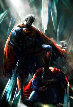 #Superman #Fan #Art. (Bizarro vs Superman) By: Rudyao. (THE * 5 * STÅR * ÅWARD * OF: * AW YEAH, IT'S MAJOR ÅWESOMENESS!!!™)[THANK U 4 PINNING!!!<·><]<©>ÅÅÅ+(OB4E)