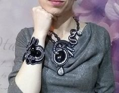 A statement bib necklace made in soutache embroidery technique in black with natural gemstone black agate. This stunning piece of jewelry is made of soutache braid, Czech beads, crystals, glass beads and large black agate. Length is adjustable. Amazing with little black dress or casual style.