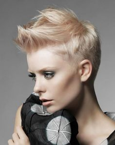 Have no new ideas about pixie hair styling? Find out the latest and trendy pixie hairstyles and haircuts in Check out the ideas at TheRightHairstyles. Faux Hawk Hairstyles, 2015 Hairstyles, Funky Hairstyles, Short Hairstyles For Women, Short Haircuts, Popular Haircuts, Wedding Hairstyles, Hair Styles 2014, Short Hair Styles