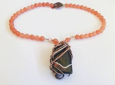 orange necklace jade necklace agate pendant handmade