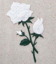 Iron On Patch Embroidered Applique Large White Rose Shimmery Flower 153103J