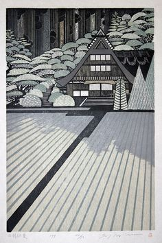 """Dewa Early Summer"" woodblock by Ray Morimura First time I have seen this Morimura woodblock print. I like most of his work. Japan Illustration, Art Occidental, Art Japonais, Japanese Painting, Art Graphique, Japanese Prints, Japan Art, Wood Engraving, Woodblock Print"