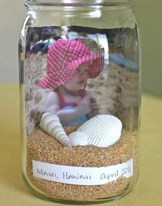 Beach in a Bottle Keepsake — Beach Bash Day 10 I like this idea for our group photos from beach trip # 1 & etc…with sand and shells collected…Then I can line them on a shelf. Beach Crafts, Cute Crafts, Crafts For Kids, Decor Crafts, Nature Crafts, Summer Crafts, Yarn Crafts, Beach Fun, Beach Trip