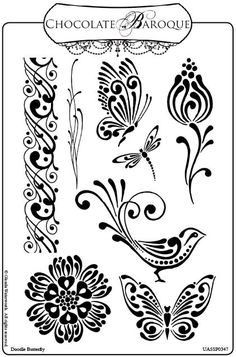 Floral, butterfly, bird drawings for wood burning