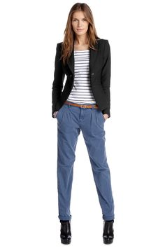 black blazer, blue & white striped shirt & light-blue chino trousers by esprit