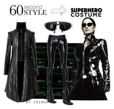"""""""60 second style: Trinity look"""" by ibinka ❤ liked on Polyvore featuring Versace, Yves Saint Laurent, Givenchy, Halloween, 60secondstyle and superherocostume"""