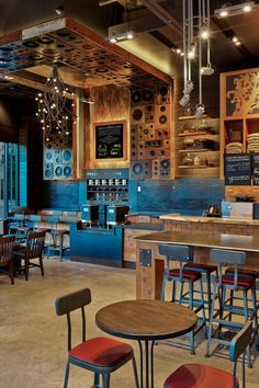 3rd & Lavaca Starbucks Cafe | Reserve Tasting Table | Disc Panels | Mic Chandelier