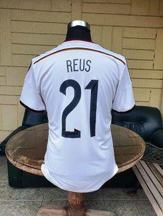 GERMANY 2014 WORLD CUP CHAMPION 4TH TITLE IN BRAZIL REUS 21 HOME JERSEY ADIDAS SHIRT TRIKOT MEMORABILIA COLLECTIBLE MEDIUM / CODE # G75069 Football Kits, Football Jerseys, Germany Kit, World Cup Champions, Vintage Jerseys, Adidas Shirt, Brazil, Tees, Shirts