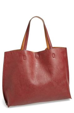 Street Level Reversible Vegan Leather Tote & Wristlet | Nordstrom