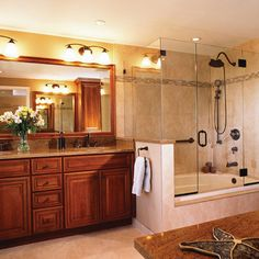 Whirlpool Bathtub And Shower Combination Master Bedroom Large Tub Combo Custom Porcelain Tile Installation Oil Rubbed Bronze Head