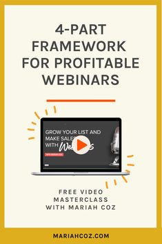 Grow your email list by learning the four-part framework for profitable webinars. Watch the free workshop and learn why webinars are essential for growing your brand and business, plus so much more. #emailmarketing #entrepreneurship #mariahcoz