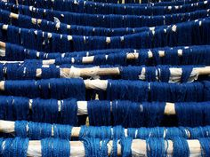 Indigo dyed threads