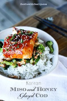 Korean Miso and Honey Glazed Cod recipe recipes healthy healthy breakfast healthy clean eating healthy snack healthy vegetarian Cod Recipes, Asian Recipes, Cooking Recipes, Healthy Recipes, Snack Recipes, Seafood Dishes, Seafood Recipes, Tandori Chicken, Good Food