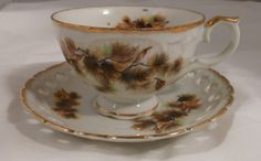 pine cone cup saucer