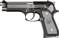 Beretta, Pistola, Arma, Arma De Fuego, Gráfica, Dibujo