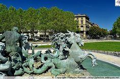 Monument aux Girondins : chevaux marins, Triomphe de la Concorde. Place des Quinconces, Bordeaux (Aquitaine, Gironde)