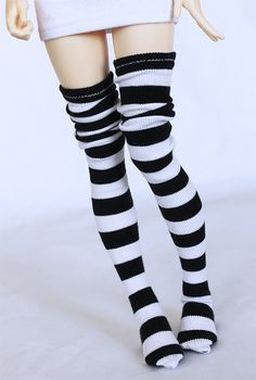 MSD BJD clothes Black and white stripe thigh by MonstroDesigns