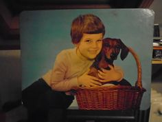 """(18) FINN – Plakat/Bilde """"Jente med Dachs hund."""""""