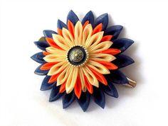 Organza Kanzashi Hair Flower Navy Orange by ScarlettandMaria