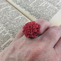 Vintage Inspired Rust Red Flower Statement Ring // Adjustable Ring by MonicaRudyJewelry