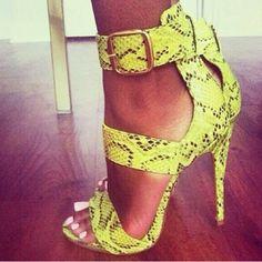 Snakeskin yellow heels
