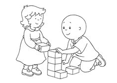 Caillou and Rose coloring pages for kids printable free