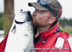 Another guest falls in love! Lovely Naden Harbour salmon scores a kiss.