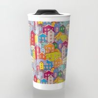 Travel Mug featuring Cityscape Sketch by EkaterinaP