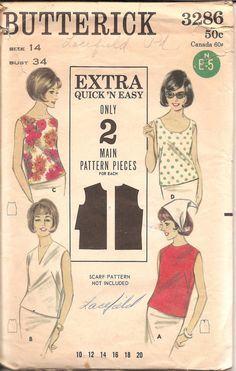1960s Womens Sleeveless Blouse  Butterick 3286 by ErikawithaK