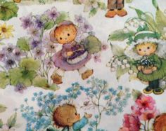 Vintage Gift Wrapping Paper - Floral Paper - Little Garden Babies - Kid's Gardeners Flowers - 1 Unused Full Sheet Birthday Gift Wrap