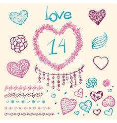 Large creative set of valentines day vector doodles by mamziolzi on VectorStock®