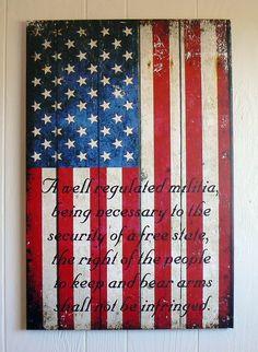 American Flag & 2nd Amendment Vertical Print on Canvas 16 X 24