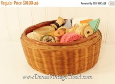 25% Off SALE Vintage Sewing Basket Sewing Notions Wooden Spools Thread Lace