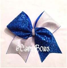 Cheer Bow Sequin Sparkle Royal Blue and Silver Holographic Dots on Etsy, $10.00