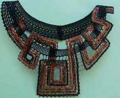 """Photo from album """"Вологодское +++"""" on Yandex. Lace Necklace, Lace Jewelry, Fabric Jewelry, Collar Necklace, Pendant Jewelry, Diy Jewelry, Crochet Necklace, Crochet Bra, Types Of Lace"""