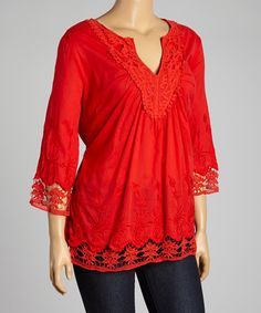 Loving this Red Embroidered Notch Neck Top - Plus on #zulily! #zulilyfinds
