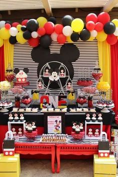 How great is this Mickey Mouse birthday party! See more party ideas at… Mickey Mouse Birthday Decorations, Mickey 1st Birthdays, Mickey Mouse First Birthday, Mickey Mouse Clubhouse Birthday Party, Mickey Mouse Parties, 2nd Birthday, Birthday Ideas, Mickey Mouse Backdrop, Fiesta Mickey Mouse