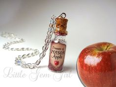 Essence of Poison Apple - Evil Queen - Snow White - Glass Bottle Cork Necklace - Potion Vial Charm - Green Black - Magic Spells