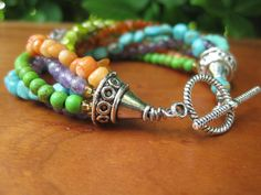 Stone and Glass Multi Strand Bracelet  Colourful by inbloomdesigns, $75.00