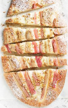 Rhubarb Pistachio Flatbread | Seasons & Suppers
