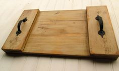 Reclaimed Rustic Pallet Wood Serving Tray Cream Chalk by AldarLane, $30.00