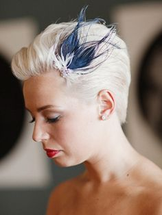 Bridal Hair: Slicked Back With Feather Fascinator