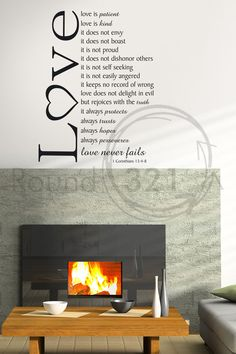 Love Never Fails Verse  Wall Decal -  Bedroom and /Or Livingroom Wall Decal  Home  Decor. $40.00, via Etsy.