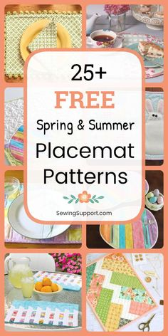 Free Placemat sewing patterns for spring and summer. Over 25 diy projects and tutorials to sew. Many quilted designs, simple and easy styles for beginners, and place mats with pockets. #SewingSupport #Placemat #SpringDiy #SummerDiy#SewingPatterns #SewingProjects