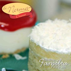 Baby Bolo Coco: Pão de ló recheado com leite condensado e pedaços de coco. Cobertura de marshmallow e filetes de coco. Baby Romeu e Julieta: Cheesecake com fina camada de biscoito e cobertura de geléia artesanal de goiaba. #love #DiNorma #cake #curta #siga e #compartilhe
