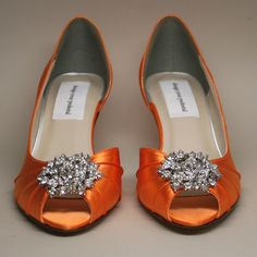 Wedding Shoes -- Orange Peeptoe Wedding Shoes with Silver Rhinestone Adornment. $165.00, via Etsy.