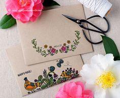 Waffle Flower Stamps Helen Dardik Kraft Envelopes by Wanda Guess Mail Art Envelopes, Cute Envelopes, Handmade Envelopes, Kraft Envelopes, Envelope Design, Flower Stamp, Flower Cards, Envelope Lettering, Gift Ideas