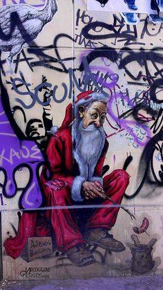 street art#Athens#Greece#artist WD# empty santa claus