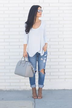 Spring Casual Style--Hi-Low Top, Distressed Boyfriend Jeans and Ankle Booties via @andeelayne